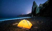 Camping on the beach under the stars