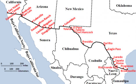 Map Of California Mexico.List Of United States Mexico Border Crossings Border Mexpro Com