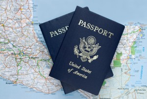 Passport Books and a Map of Mexico
