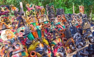 Colorful Wood Carved Masks in Mexico