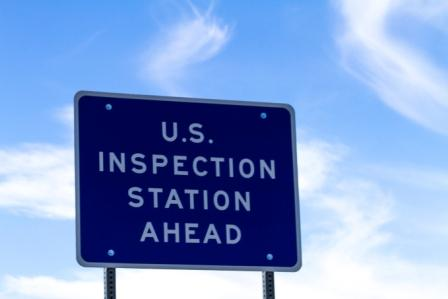 U.S. Inspection Station Ahead sign