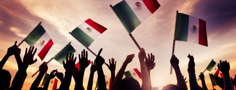 Mexican Flags Waving