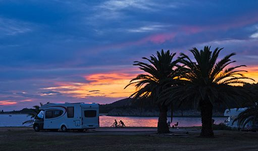 RV on Beach Sunset