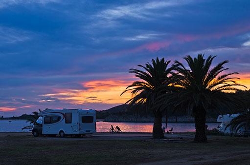 RV on Beach Sunset