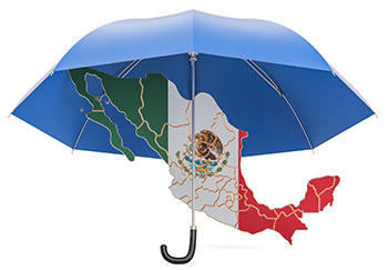 Umbrella over the country of Mexico