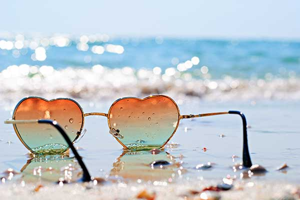 Heart Shaped Sunglasses on Mexico Beach
