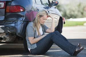 Person sitting auto accident