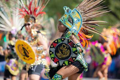 Traditional Aztec Dance with Clothing and feathers