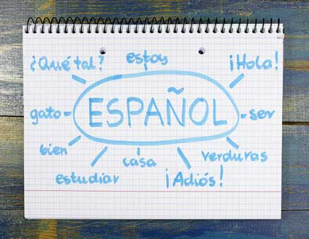 Espanol on notebook paper with Spanish words